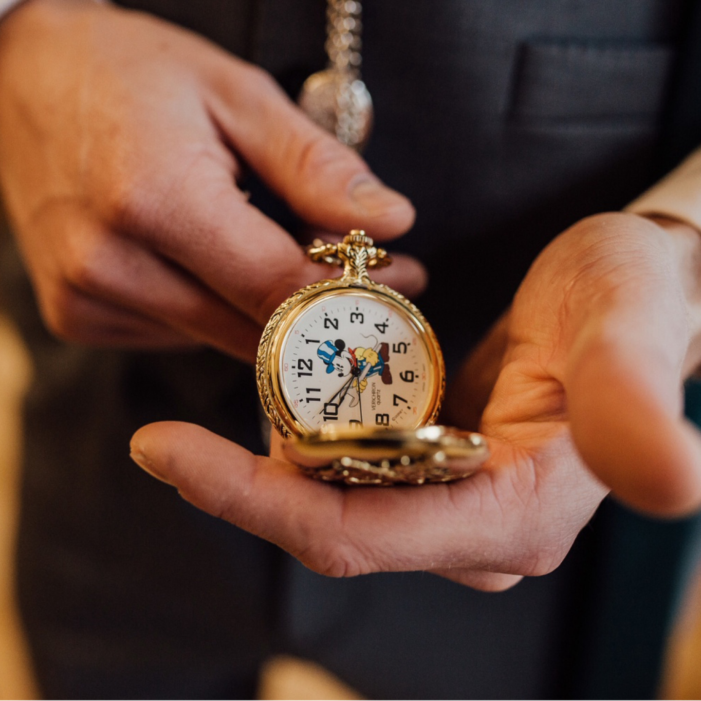 Disney themed wedding, Disney pocket watch, Disney groom's accessories