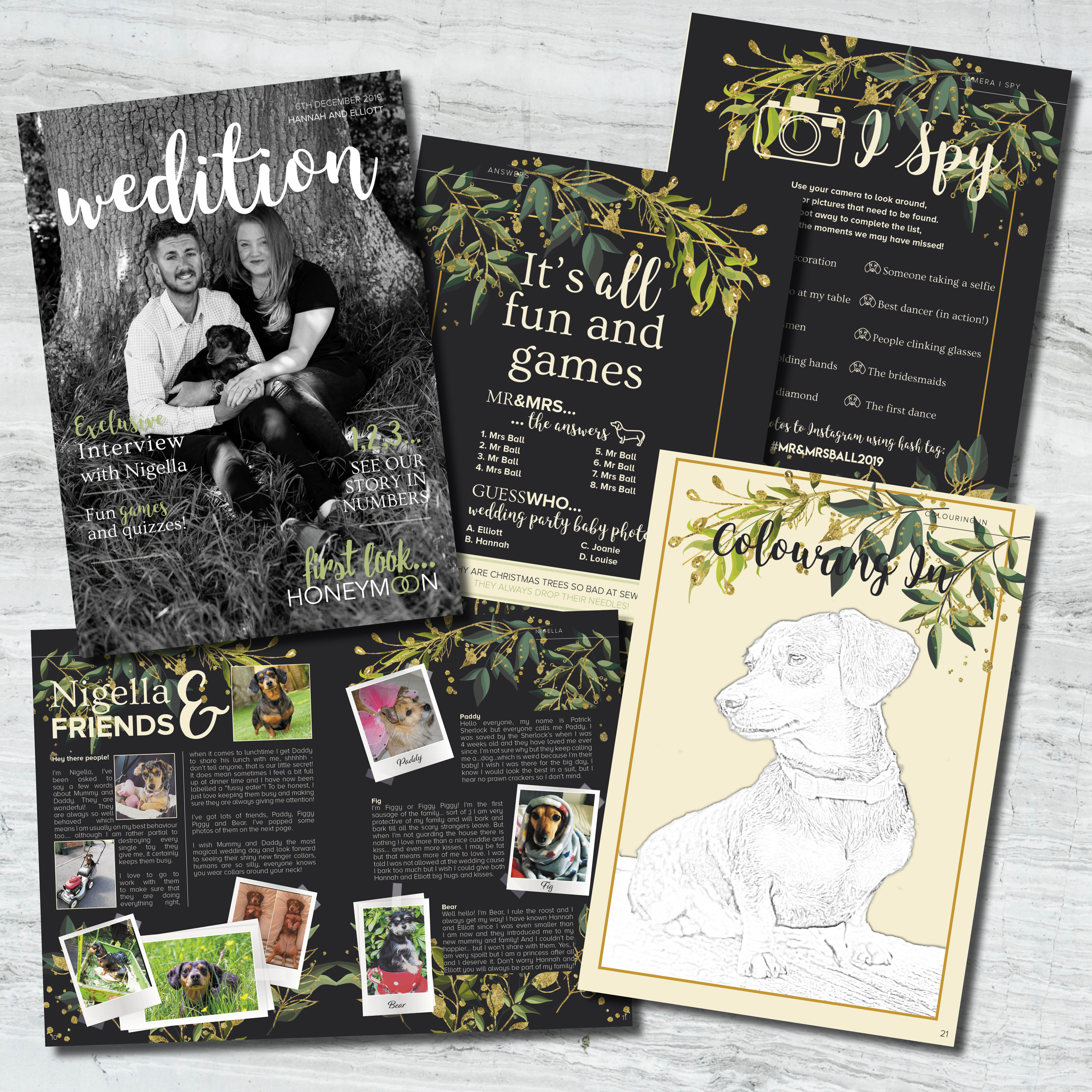 animal wedding stationery, Making your pet a memorable part of your wedding day, dogs at wedding, wedding colouring in