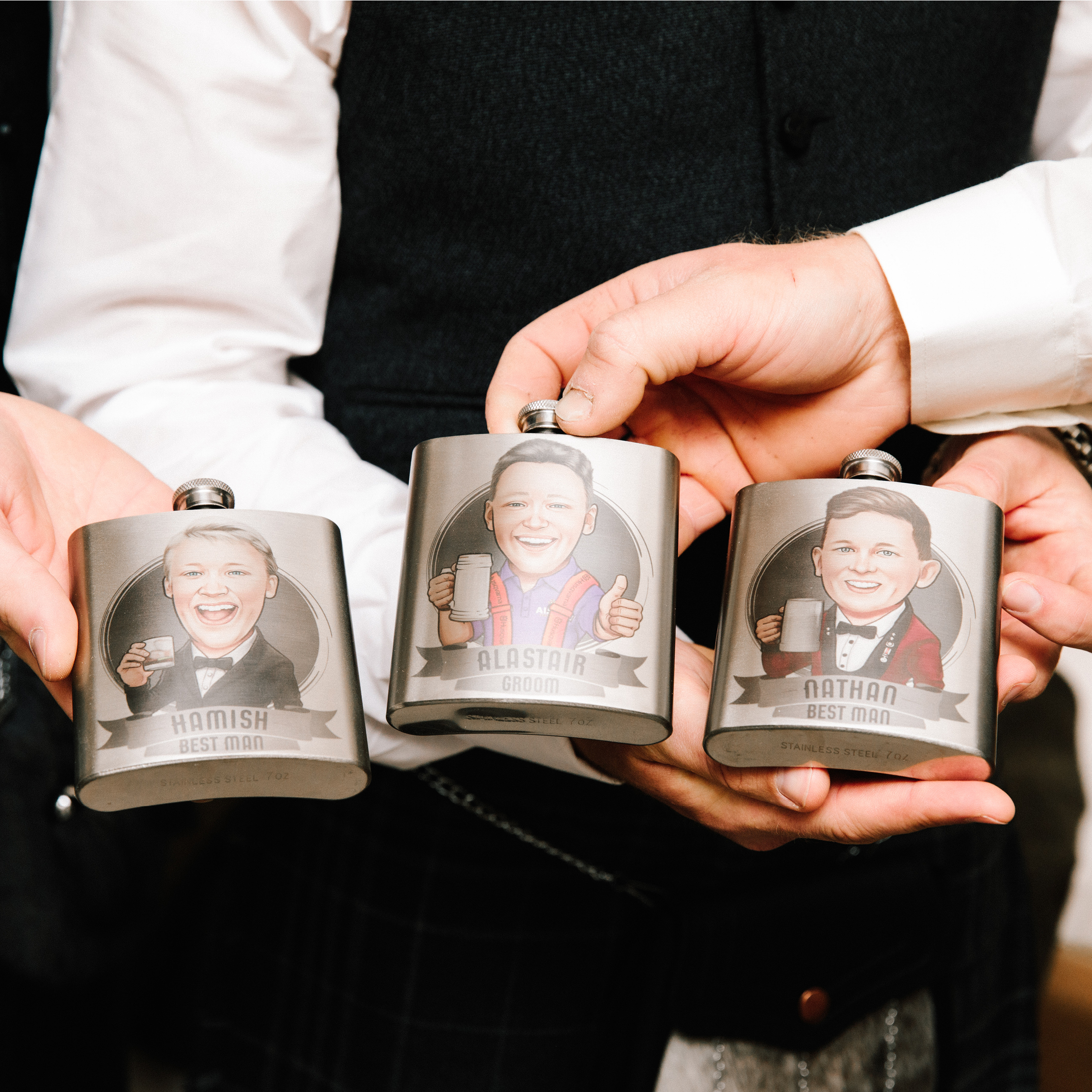 Personalised caricature hip flask, wedding party gifts