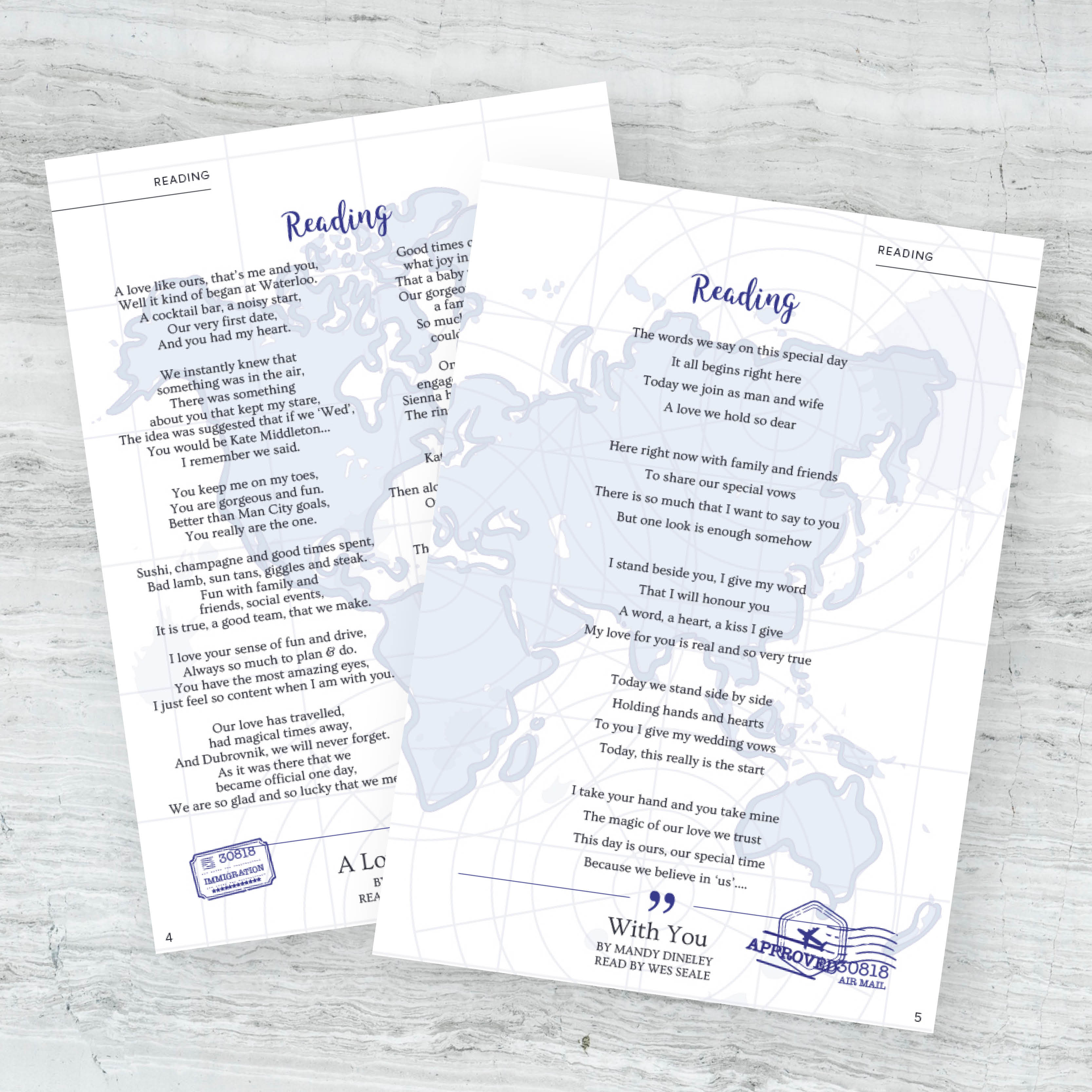 Personalised wedding stationery, unique wedding readings, bespoke wedding readings