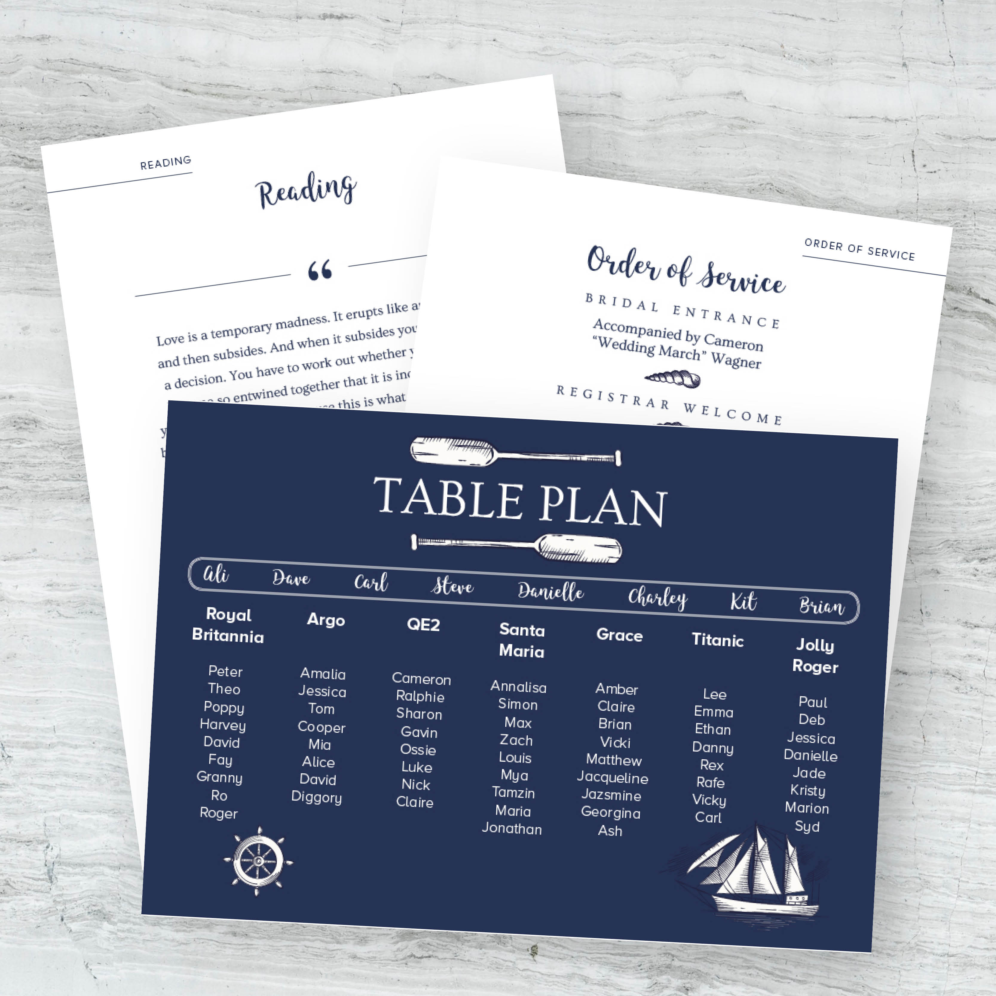 Personalised wedding stationery, unique wedding table plan