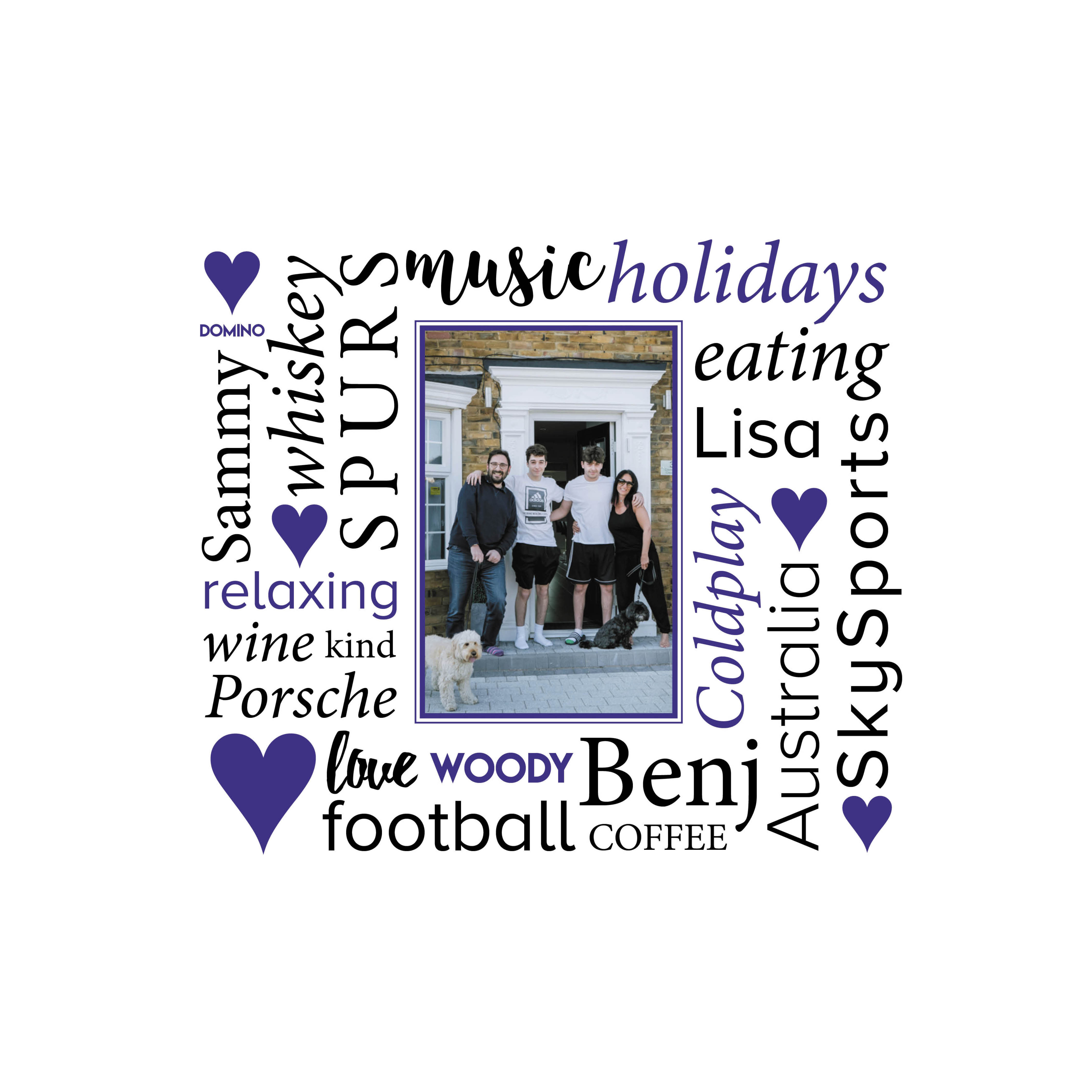 Valentine's Lockdown Gift Buying Guide, Valentines personalised word picture, word picture