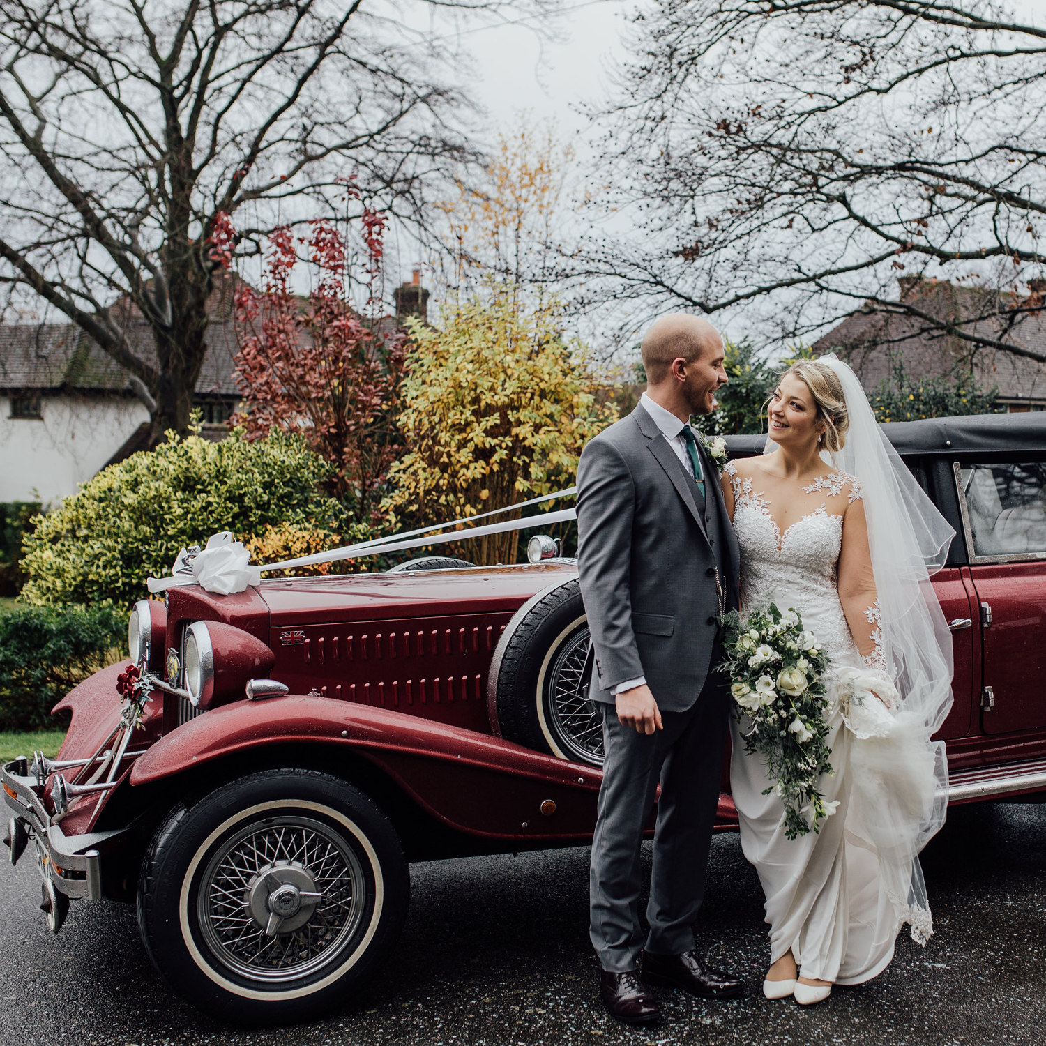 Wedding cars and coaches, wedding transport, classic red wedding car