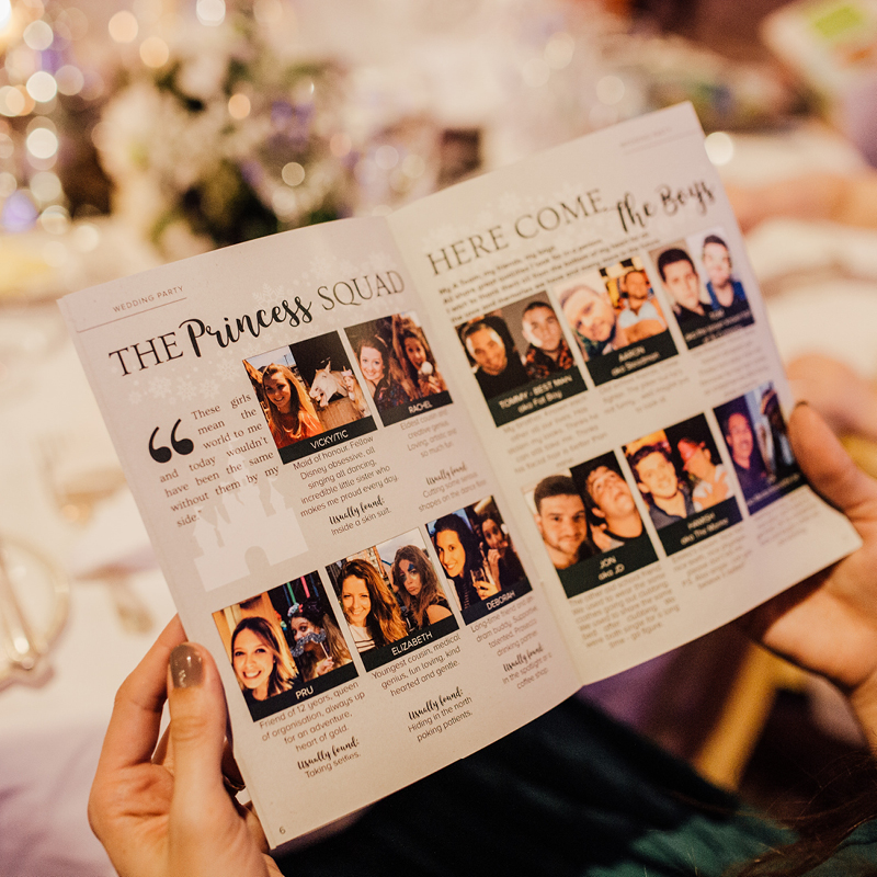 Wedding party ideas, personalised wedding magazine